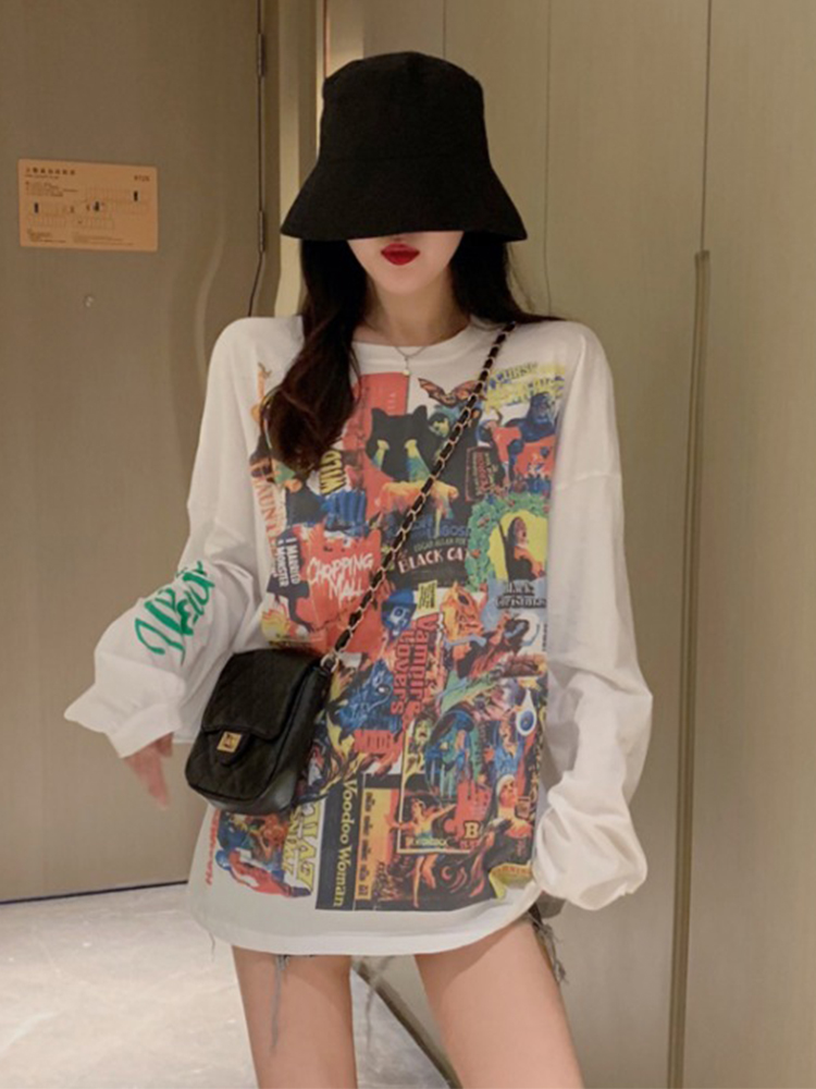 Loose long-sleeved T-shirt new female early autumn 2019
