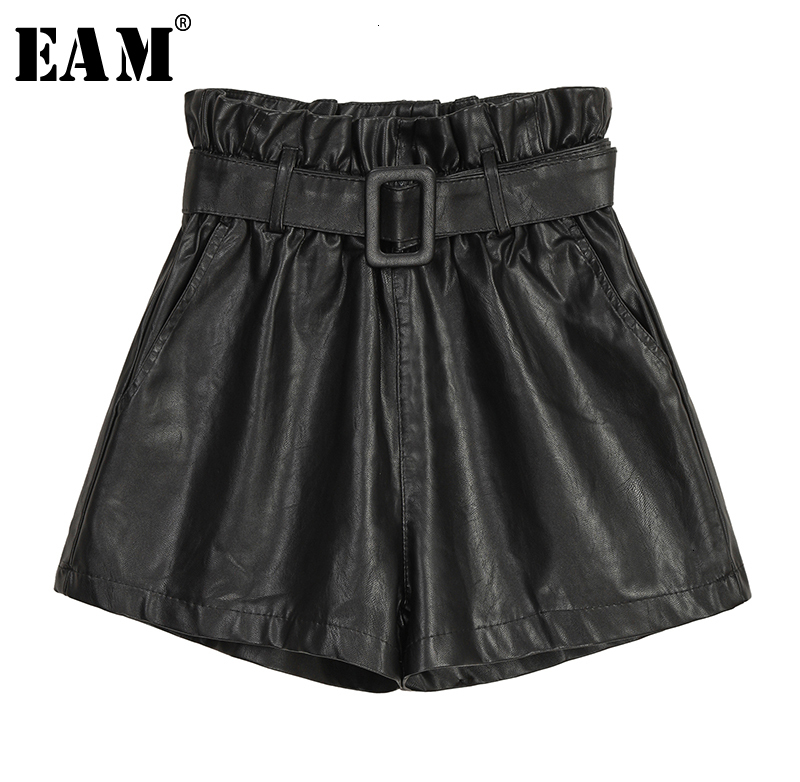 [EAM] Women Wide Leg Pu Leather Pleated Shorts New High Waist Loose Fit  Trousers Fashion Tide Spring Autumn 2019 19A-a73