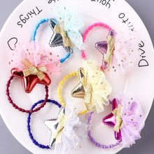 Children's Korean version of the bright leather star five-pointed star baby all-inclusive hairpin girl hairpin hair ring headwea(China)