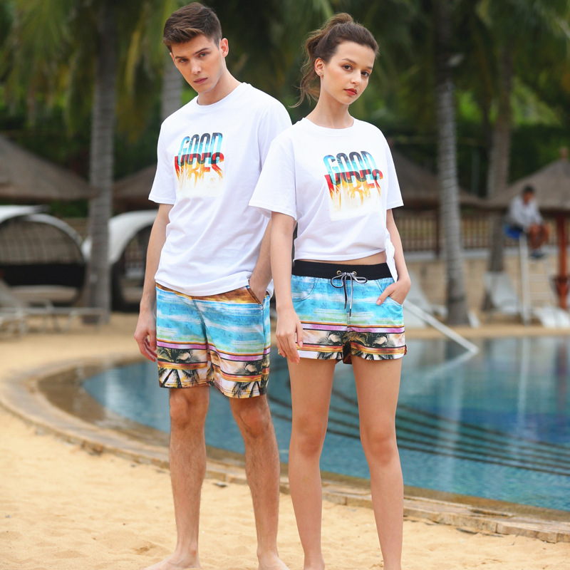 Couples Beach Shorts Men Loose And Plus-sized Spandex Swimming Hot Springs Shorts Seaside Holiday Surfing