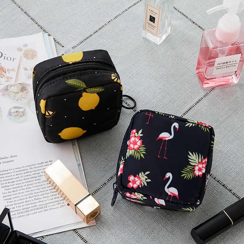 Tampon Storage Bag Sanitary Pad Pouch Women Napkin Cosmetic Bags Organizer Ladies Makeup Bag Girls Tampon Holder Organizer