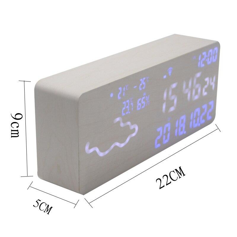 Réveil intelligent numérique électronique prévision météo commande vocale thermomètre hygromètre Wifi connexion Led silencieux Snooze - 4