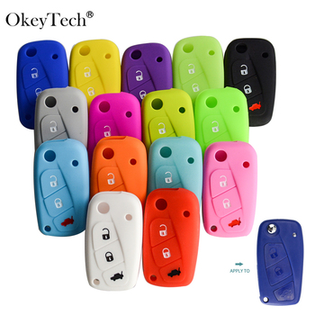OkeyTech New Styling Colorful Silicone Key Cover for Fiat 500  Panda Stilo Punto Doblo Grande BravoDucato Folding Car Shell - discount item  20% OFF Interior Accessories