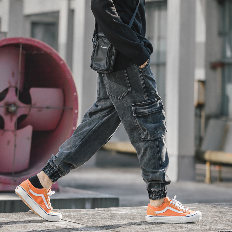 Japanese Style Fashion Men Jeans Black Gray Vintage Designer Joggers Pants Big Pocket Cargo Pants Streetwear Hip Hop Jeans Men