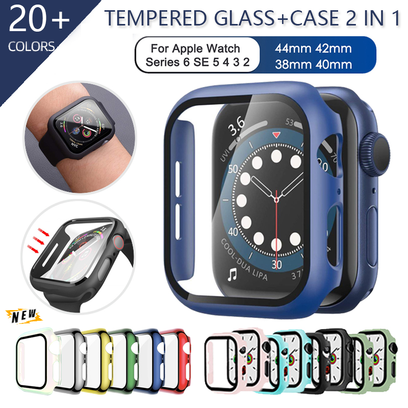 Tempered Glass Screen Protector+cover for Apple watch case 44mm 40mm series SE 6 5 4 3 Cover slim for iWatch 6 5 frame 38mm 42mm