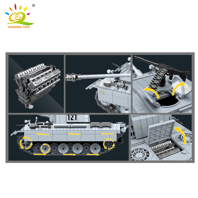 HUIQIBAO 990pcs Military Panther 121 Tank Building Blocks Army 6 Soldier WW2 weapon Model Bricks Construction Toys for children