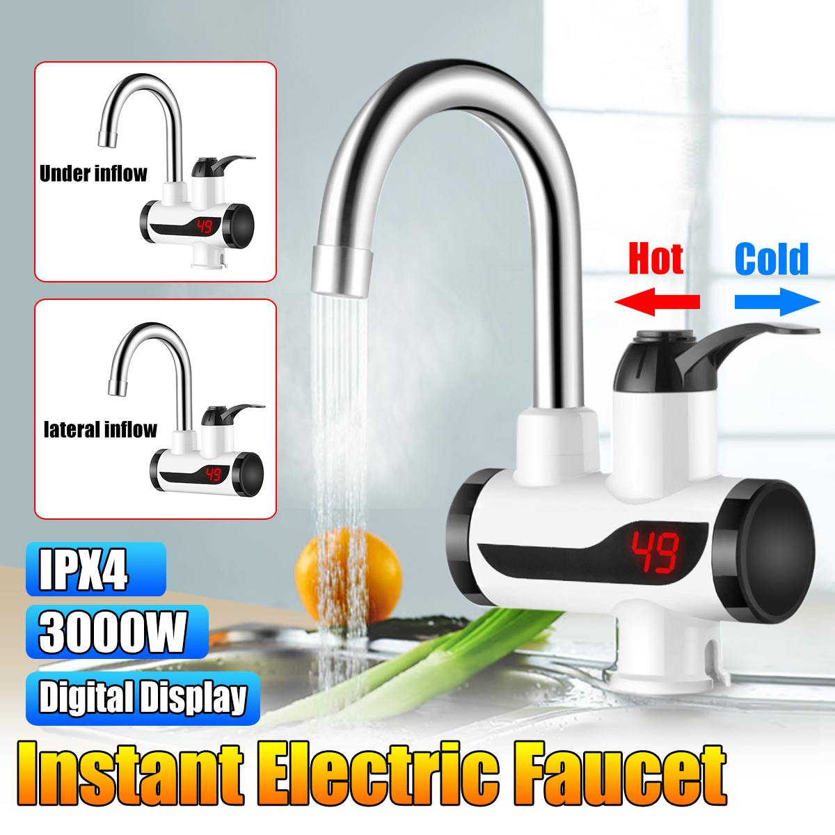 2Types 220V 3000W Instant Electric Faucet Tap Hot Water-Heater LED Display Bathroom Kitchen Faucet Tap Hot Water-Heater