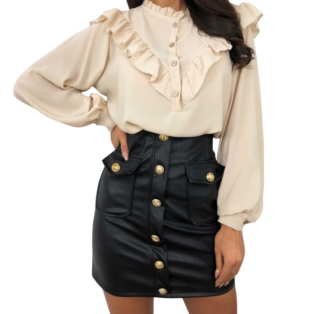 Women Fashion OL Skirts High waist Leather Summer Spring Clothes Bottoms Female Work High street Buttons Party Pencil Mini Skirt