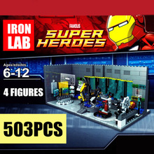 New MOC Iron Man Underground Marvel Tony Stark Avengers Tower Fit Legoings Figures Building Block Brick Toy