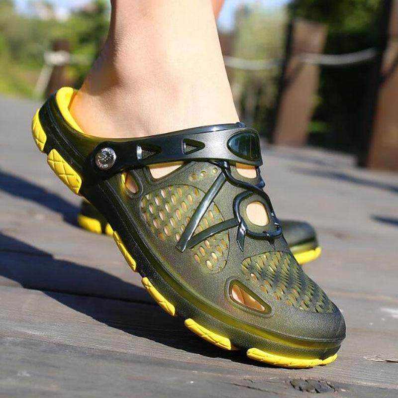 OKKDEY 2020 Men Sandals  Shoes  Men Green Garden Casual Rubber Clogs For Men Male Sandals Summer Slides  Swimming Jelly Shoes