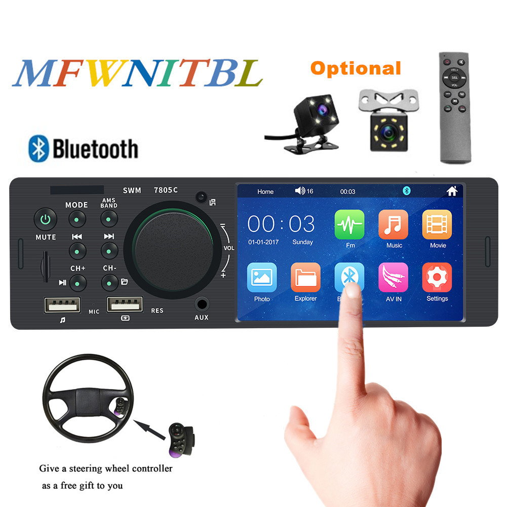 Touch Screen Autoradio 1 Din Bluetooth USB SD Aux FM mp5 Multimedia Player Car Radio Audio Stereo With Steering Wheel Control image