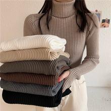 Женский свитер Топ из плотной ткани с высокой меховой воротник