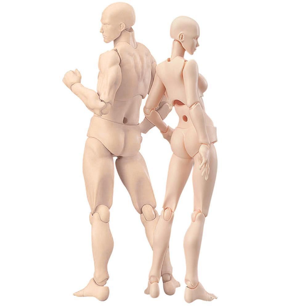 Corpo móvel conjunto figura de ação brinquedo artista arte pintura anime modelo boneca manequim arte esboço desenhar corpo humano boneca homem mulher Figuras de ação    -
