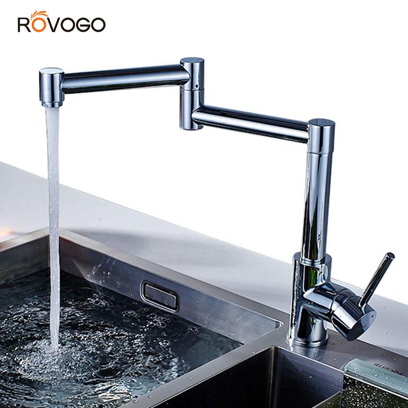 ROVOGO Foldable Kitchen Faucet Brass Chrome, Single Handle Single Hole Flexible Spout Cold Hot Mixer Tap Sink Crane