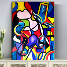 Picasso's woman painting on canvas, art graffiti wall prints and posters, frameless paintings, home living room decoration