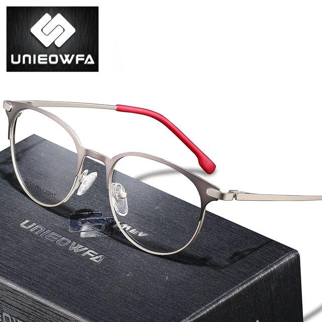 Liga de titânio retro óculos redondos quadro de prescrição óptica armação de óculos mulher clara miopia vintage óculos quadro