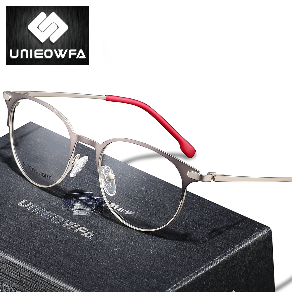 Titanium Alloy Retro Round Glasses Frame Men Optical Prescription Eyeglasses Frame Women Clear Myopia Vintage Spectacles Frame image