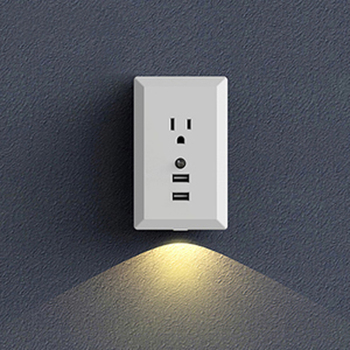 US Plug Smart USB Wall Socket With LED Night Light Sensor Lamp 2 USB Ports 2.4A Fast Charging Intelligent Charger