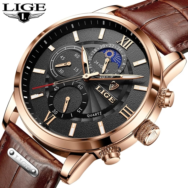 2021 nuevos relojes para hombre en este momento superior de la marca de lujo de cuero reloj de cuarzo Casual de los hombres deporte impermeable reloj Relogio Masculino + caja 5