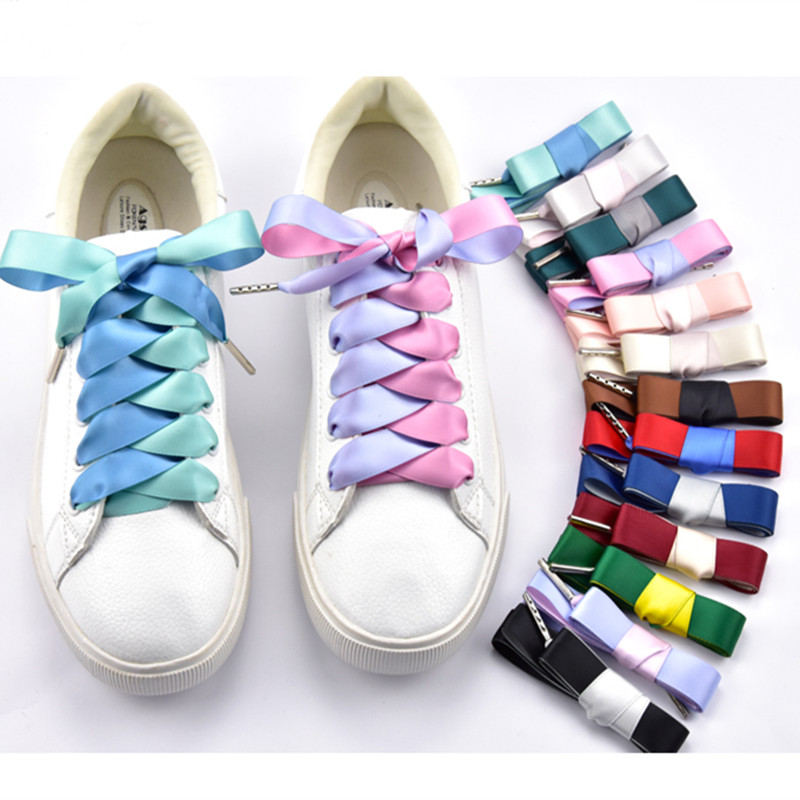 1.6 Cm Width Double Color Satin Shoelaces  80/100/120/140 Cm Metal Head Bowknot Sneaker Sport Shoes White Shoes Laces