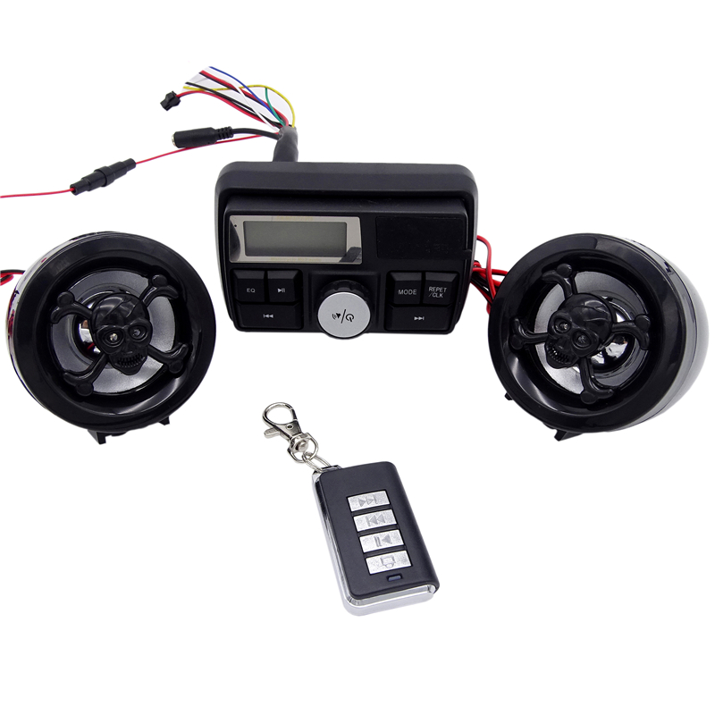 3 inch Motorcycle Alarm Waterproof Sound System FM Radio Stereo Amplifier MP3 Speakers Anti Theft Alarm System with USB SD Slot in Motorcycle Audio from Automobiles Motorcycles