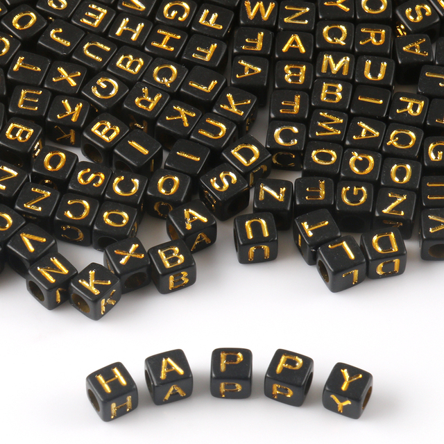 Black Gold Letter Acrylic Beads Round Flat Alphabet Love Cube Loose Spacer Beads For Jewelry Making Handmade Diy Bracelet|Beads|   -