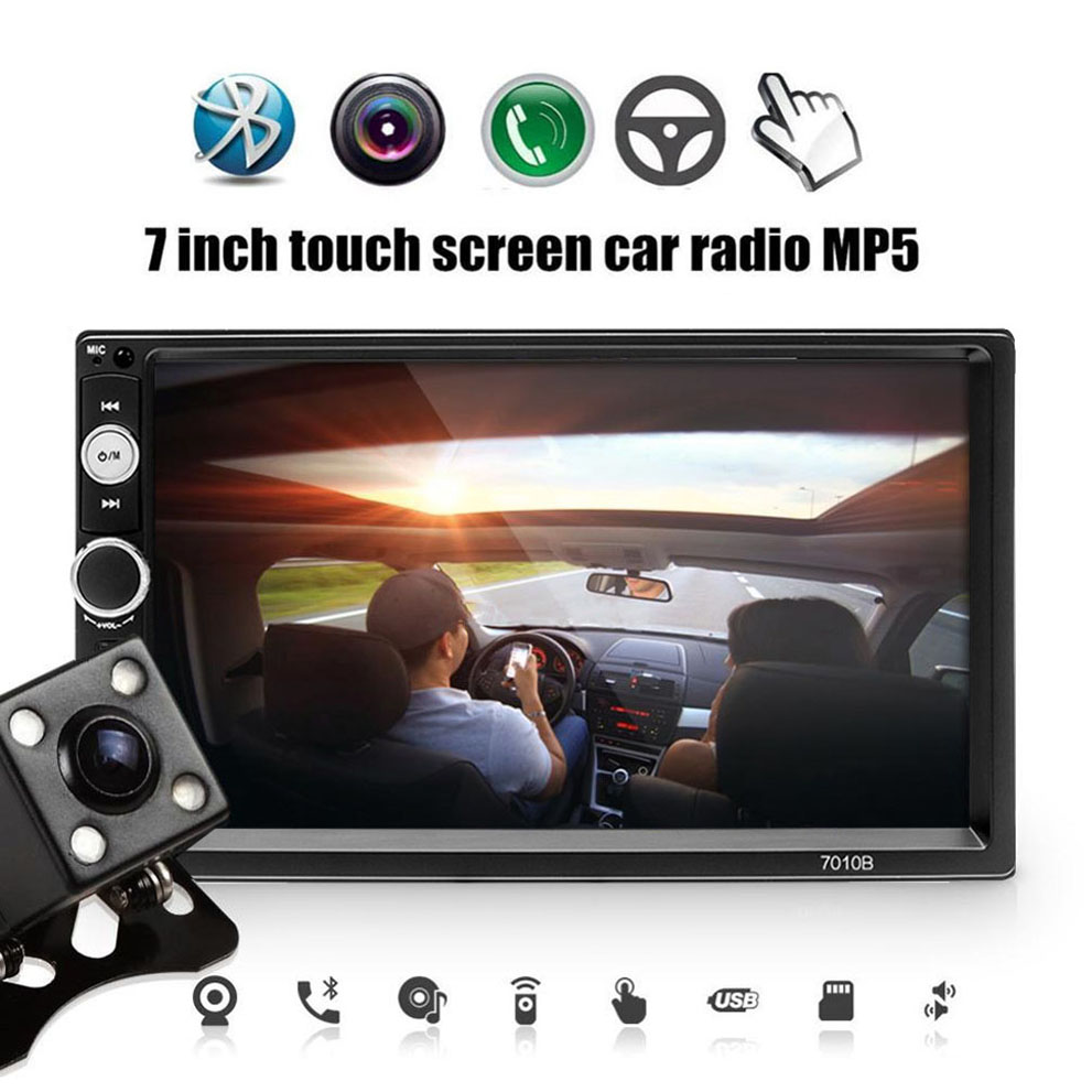 <font><b>2</b></font> <font><b>Din</b></font> Car Radio <font><b>7010B</b></font> Autoradio <font><b>2</b></font> <font><b>din</b></font> Bluetooth 7 inch Touch Screen Mp5 USB/FM/AUX/SD 2din Radio Car Coche Recorder image