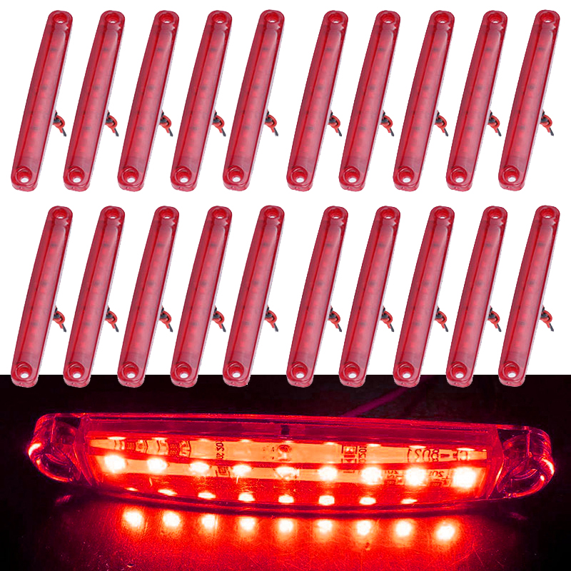 20pcs Bulbs Red Side Signal Lights Lamps ABS Plastic Set DC 24V Turn Signals Trailers Lamps Truck Waterproof