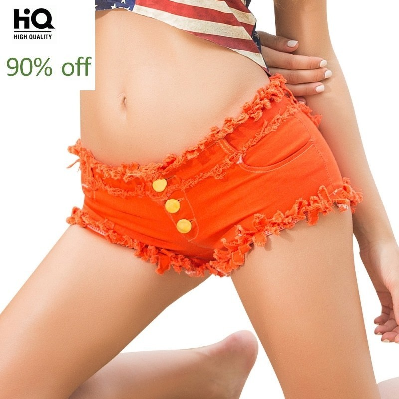 Vintage New Fashion Hot Sale Womens Low Waist Sexy Button Cotton Jeans Female Shorts European Multi Color Orange Black White