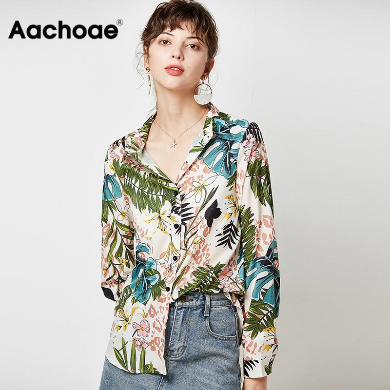 Vintage Floral Print Women Shirts 2020 Casual Loose Elegant Blouse Long Sleeve Turn Down Collar Office Shirt Tops Camisas Mujer