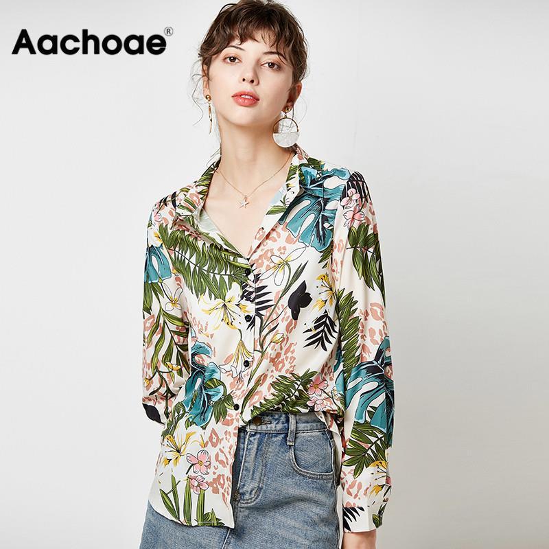 Vintage Floral Print Women Shirts 2020 Casual Loose Elegant Blouse Long Sleeve Turn Down Collar Office Shirt Tops Camisas Mujer