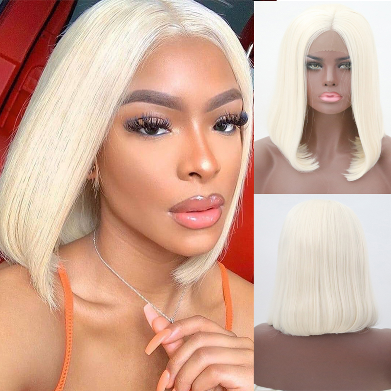 RONGDUOYI Short Bob Hair Synthetic Lace Front Wig Heat Resistant Hair Blonded Wigs For Women Straight Lace Wig Middle Part Wigs