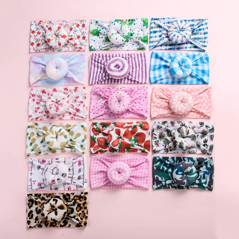 20pc/lot Christmas Camouflage Soft Width Nylon Headband Round Knot Bows Stretchy Turban Girls Leopard Donuts Head Wraps Headwear