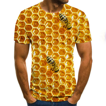 Summer New Men's T-shirt Ms. Bee 3D Sweatshirt 3D Print Personality Short Sleeve Hip Hop O-Neck Top personality 3d round neck gorilla print tank top for men