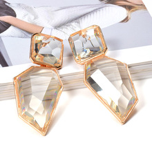 Wholesale ZA Clear And Pure Resin Drop Earrings Like Crystal Hanging Elegant Irregular Dangle Fine Jewelry For Women