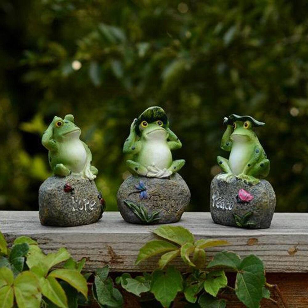 3 uds estatuas de rana ranas pequeñas decoraciones encantadoras sentado en esculturas de piedra al aire libre jardín patio piscina pecera adornos Decoración Invernadero pequeño para jardín, cobertizo para jardín, invernadero de exterior para jardín, aislamiento doméstico, invernadero de 3 tamaños