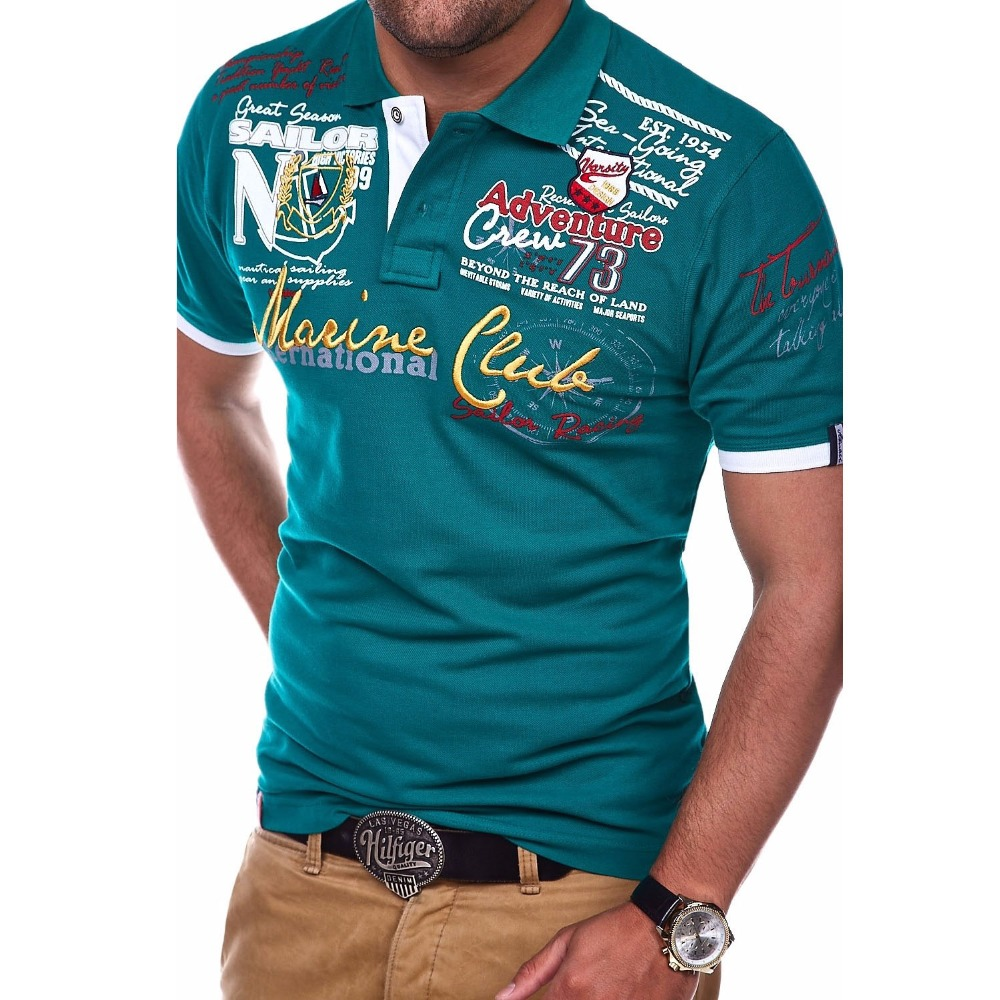 ZOGAA Summer Men's Polo Shirt Mens Letter Printed Polos Male Cotton Casual Short-sleeved Polo Shirt Top Men Clothes 2019 XS-4XL