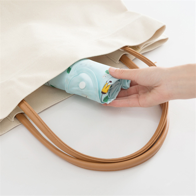 PURDORED 1 Pc Flower Shopping Bag Fordable Women Shopping Tote Bag Portable Waterproof Reusable Cloth Eco Grocery Bag Handbags 3