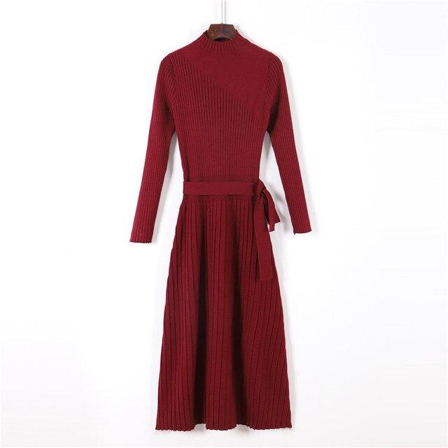 New Warm Long Sleeve Women Sweater Dress Thick Winter Woman Loose Dress Belt Solid Warm Autumn Knitting Cotton