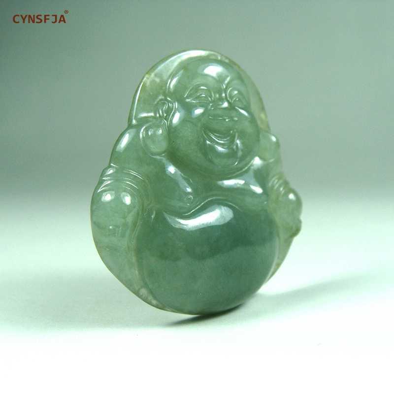 CYNSFJA จริงได้รับการรับรองธรรมชาติเกรดพม่า Jadeite พระเครื่องพระพุทธรูปจี้หยกสีเขียวแกะสลักคุณภาพสูงที่ดีที่สุดของขวัญ