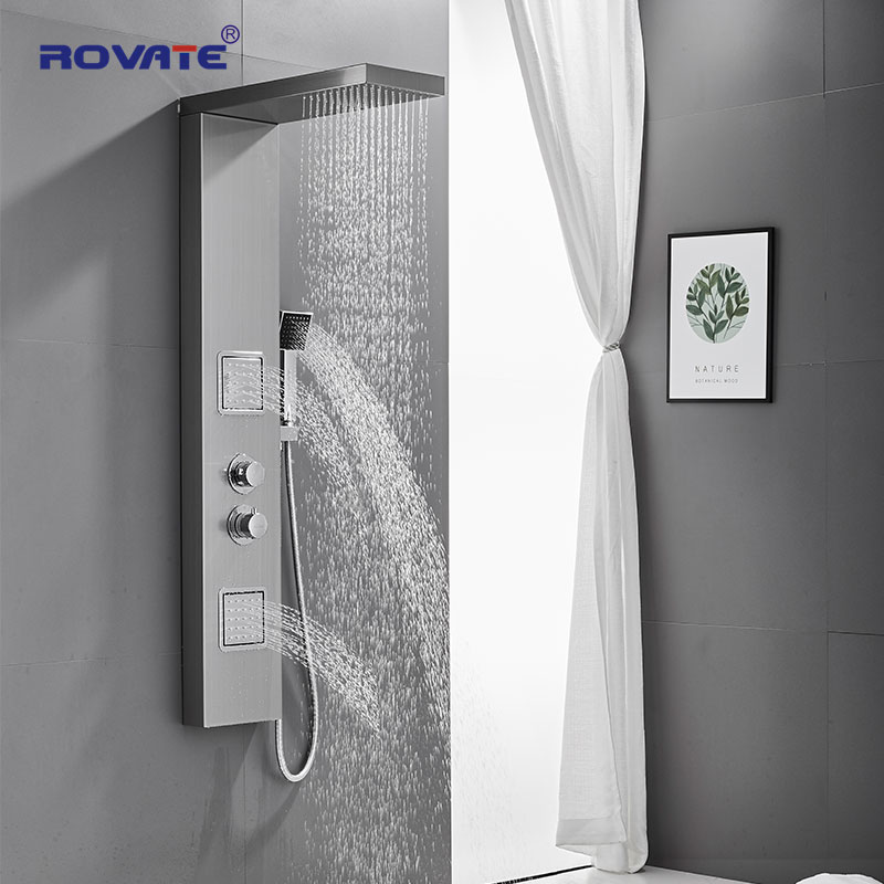 ROVATE 304 Stainless Steel Shower Panel Thermostatic Shower System, Rainfall Shower Head  Massage System With Body Jets