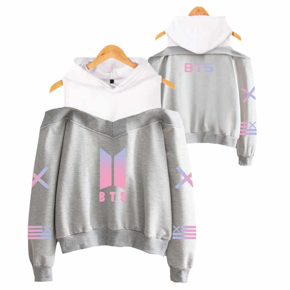 Hot Selling New Style Fashion Color BTS Bulletproof Boys Women's off-Shoulder Hoodie