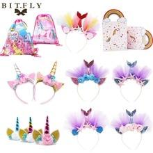 Kit de vajilla desechable de decoración de fiesta de unicornio, envoltorio de pastel de banda de pelo de sirena para Baby Shower niños suministro de boda de cumpleaños