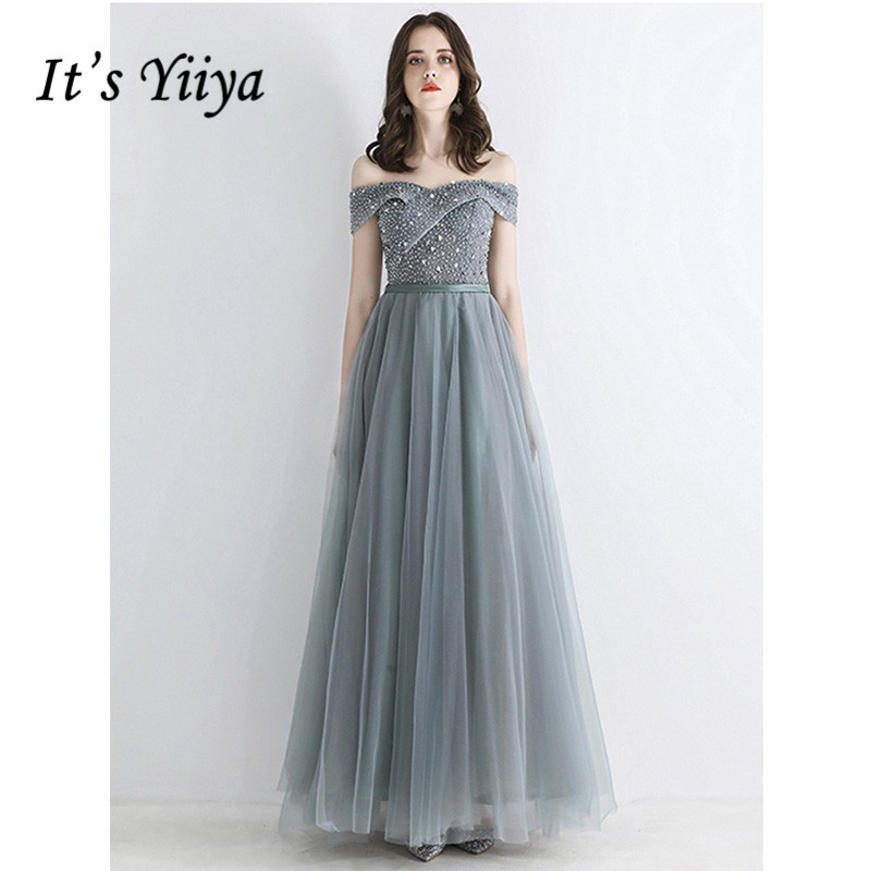 It's Yiiya Evening Dress 2019 Backless Lace Up Boat Neck A-Line Floor Length Dresses Crystal Off Shoulder Robe De Soiree E1052