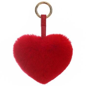 Rex rabbit fur love pendant furry plush ball heart bag pendant heart-shaped pendant car ornament cute key chain classic heart pendant
