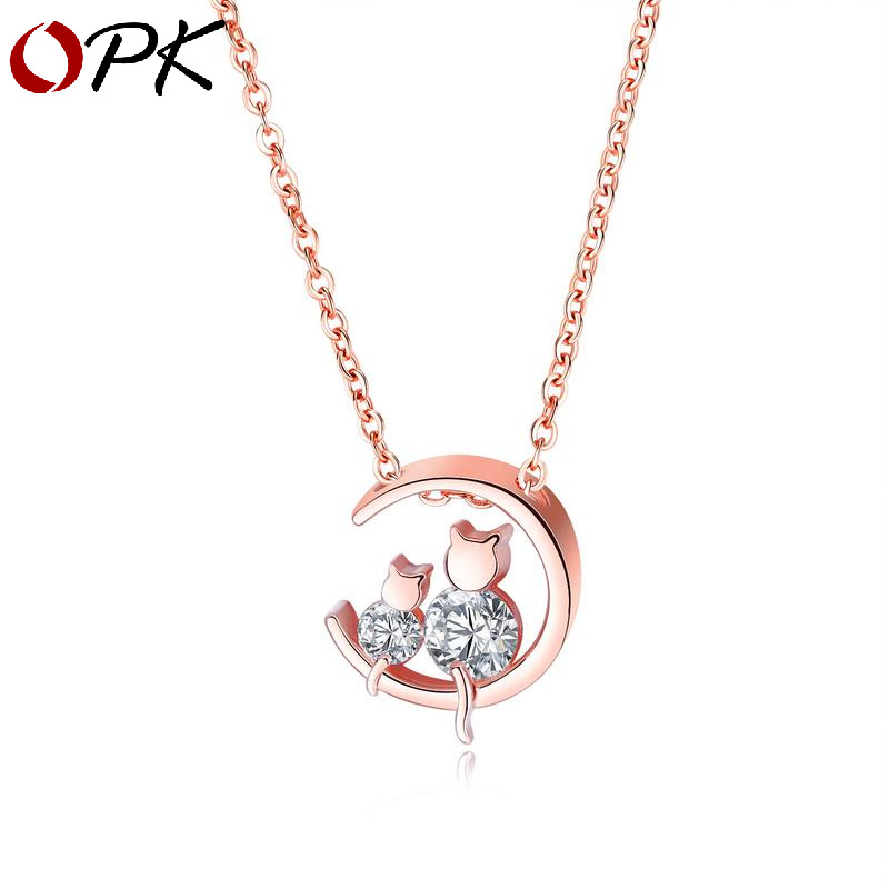 OPK mode tempérament tendance nouveaux bijoux transfrontaliers version coréenne femmes or rose zircon clavicule collier