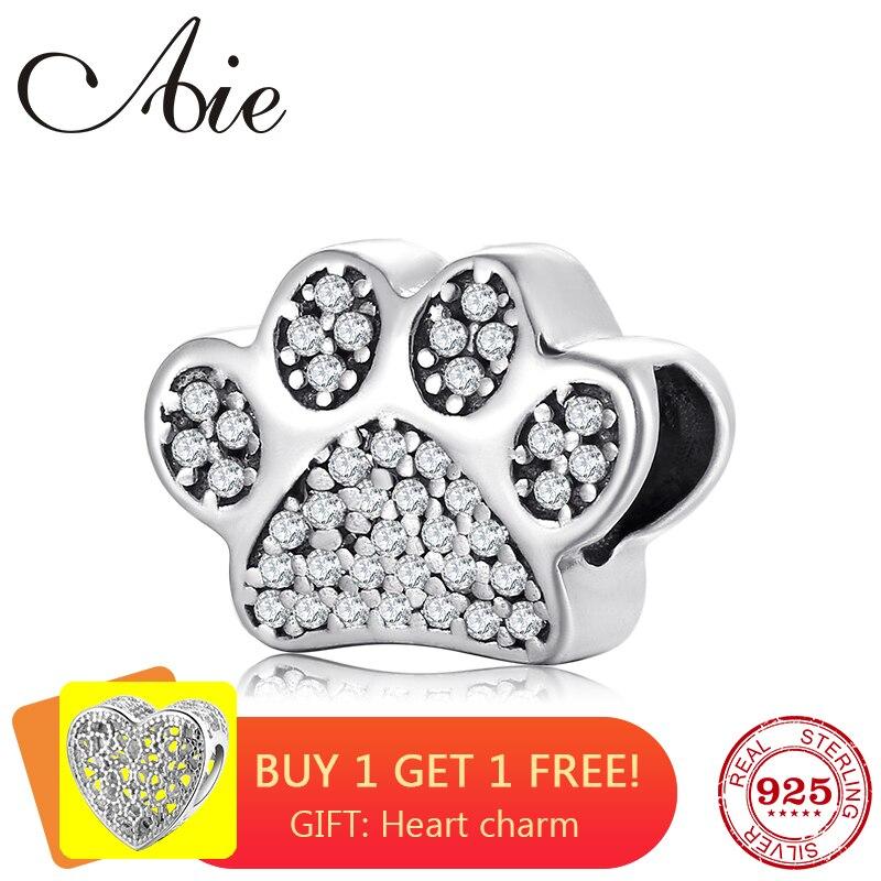 Fashion Cute Dog Paw Prints 925 Sterling Silver Sparkling Zircon Fine Bead Fit Original Pandora Charm Bracelet Jewelry Making