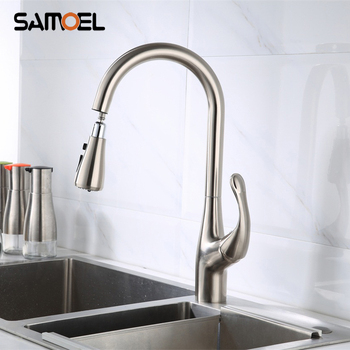 Modern Brass Brushed Nickel Pull Out Kitchen Sink Faucet Mixer Deck Mounted Pull Down Kitchen Water Tap NL715