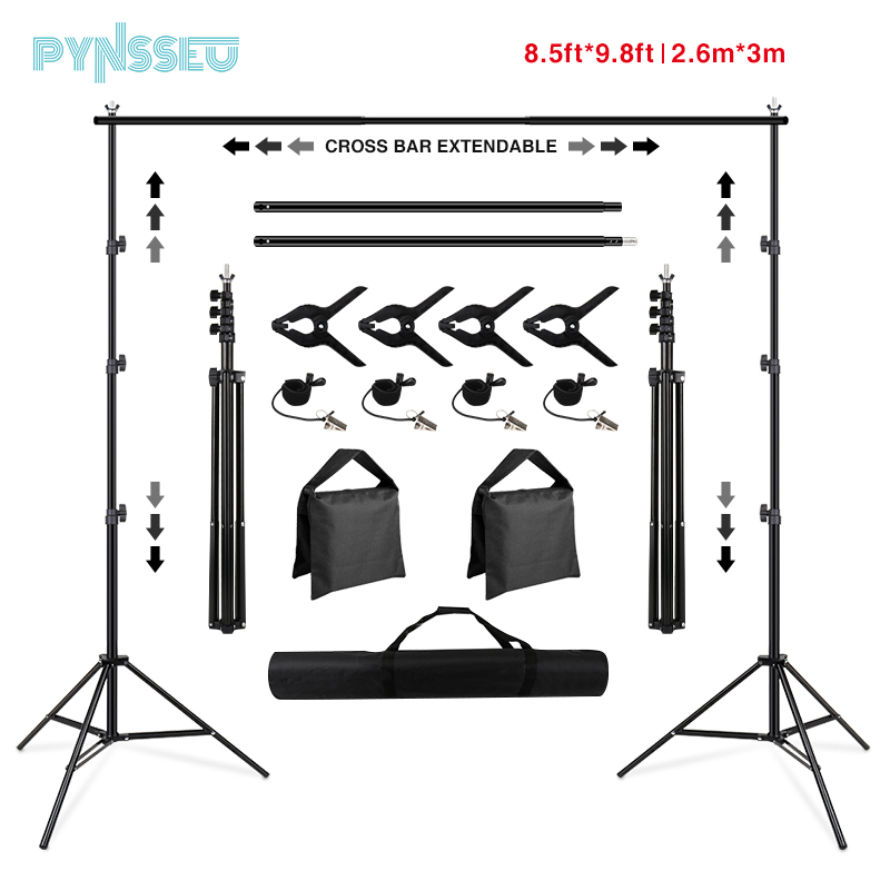 PYNSSEU Backdrop Stand 8.5 x 10ft Adjustable Photography Muslin Background Support System Stand for Photographic Video Studio