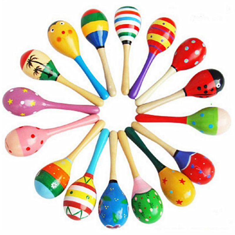 Baby Children Wooden Maracas Rattle Musical Instrument Shaker Toys Colorful